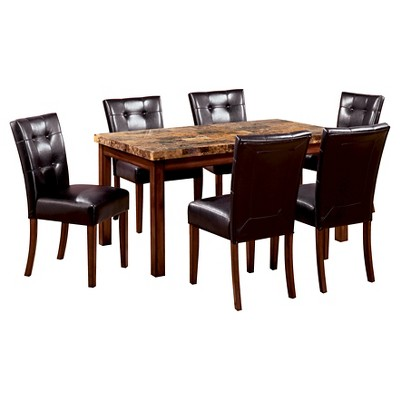 dark kitchen table sets under 200 sun pine 7pc faux marble top 60 dining set wood oak target
