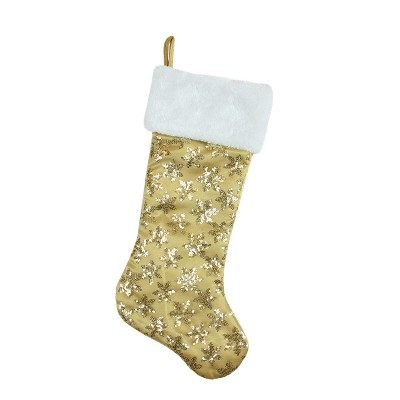 """Northlight 20.5"""" Gold Sequin Snowflake Christmas Stocking with White Faux Fur Cuff"""