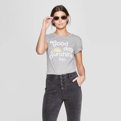Women's The Beatles Short Sleeve Crewneck Good Day Sunshine T-Shirt (Juniors') - Gray