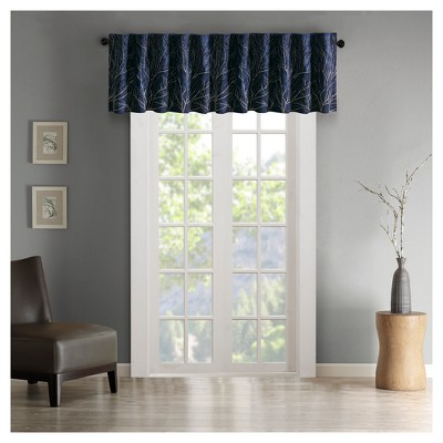 "50""x18"" Aden Faux Silk Embro Blackout Window Valance Navy"
