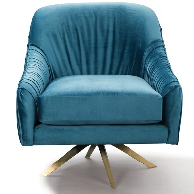 swivel upholstered chairs indian chair covers berkley home pleated mid century blue gold fox hill trading