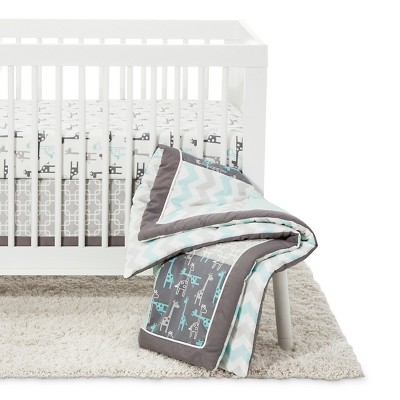 The Peanut Shell Crib Bedding Set 4pc - Uptown Giraffe