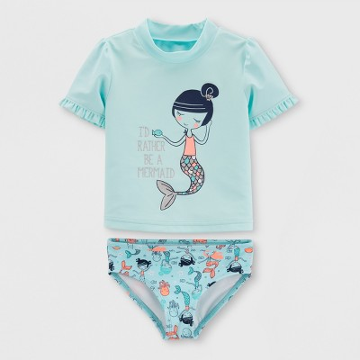 Baby Girls' 2pc Short Sleeve Mermaid Rash Guard Set - Just One You® made by carter's Blue