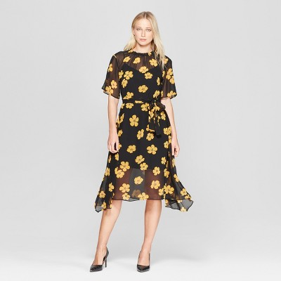 Women's Floral Print 3/4 Sleeve Belted Flowy Midi Dress - Who What Wear™