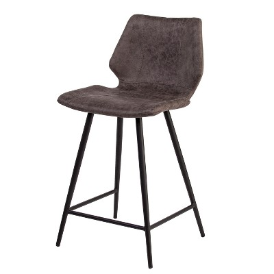 Set of 2 Kesserill Faux Leather Counter Stools Chocolate Heather - Aiden Lane