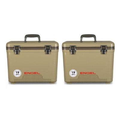 Engel Coolers 19 Quart 32 Can Capacity Insulated Cooler Drybox, Tan (2 Pack)