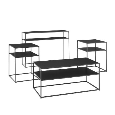 4pc braxton coffee table set coffee table console table and 2 end tables matte black crosley
