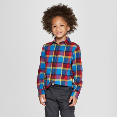 Boys' Plaid Long Sleeve Button-Down Shirt -Cat & Jack™ Blue/Red