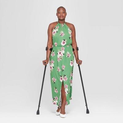 Women's Plus Size Floral Print Sleeveless Slit Maxi Dress - Ava & Viv™ Green