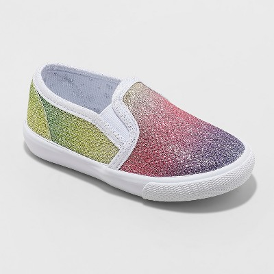 Toddler Girls' Valtera Rainbow Sneakers - Cat & Jack™ Silver