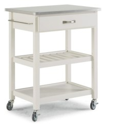 Stainless Kitchen Cart Tile Flooring Vineyard Steel Top White Home Styles Target