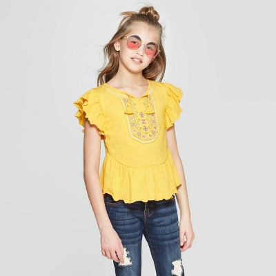 Girls' Short Sleeve Embroidery Top - art class™ Yellow