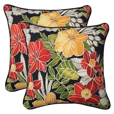pillow perfect clemens outdoor 2 piece square throw pillow set black