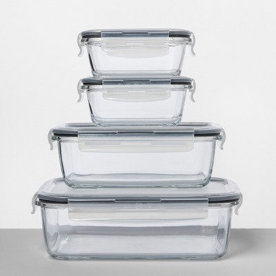 Rectangular Glass Food Storage Container 8pc Set - Made By Design™