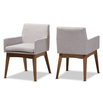 Set of 2 Nexus Mid Century Modern Walnut Wood Fabric Upholstered Dining Armchair - Baxton Studio