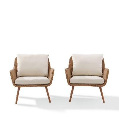 landon 2pc outdoor wicker chair set beige crosley