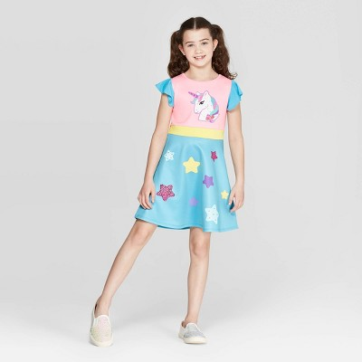 Girls' JoJo's Closet Unicorn Dress - Light Blue/Pink