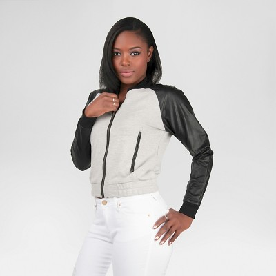 Poetic Justice Women's Vegan Leather French Terry Bomber Jacket