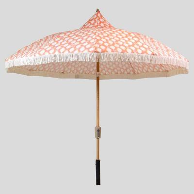 9 lemons carousel patio umbrella coral