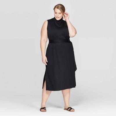 Women's Plus Size Sleeveless Crewneck Knit Midi Dress - Prologue™