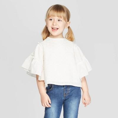 Toddler Girls' 3/4 Sleeve Eyelet Blouse - art class™ White