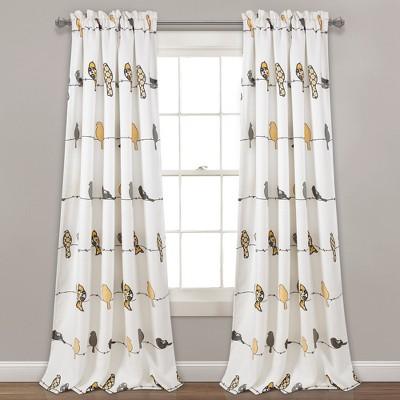 "95""x52"" Rowley Birds Room Darkening Window Curtain - Lush Decor"