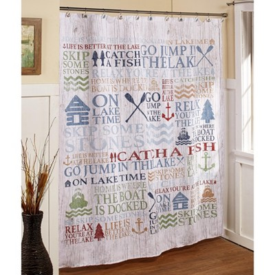 lakeside lakewords shower curtain with inspirational cabin vacation sayings