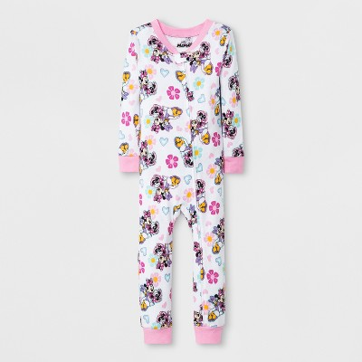 Toddler Girls' Minnie Mouse Blanket Sleeper - White/Pink