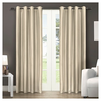Chatra Faux Silk Grommet Top Window Curtain Panel Pair - Exclusive Home™