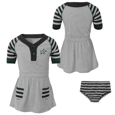 NHL Dallas Stars Girls' Infant/Toddler Striped Gray Dress