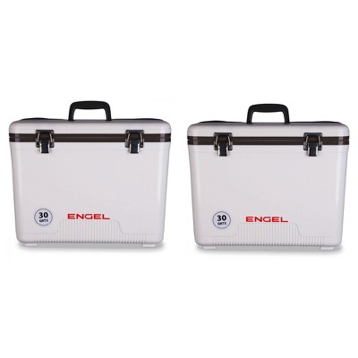 Engel Coolers 30 Quart 48 Can Insulated Mobile Cooler Drybox, White (2 Pack)