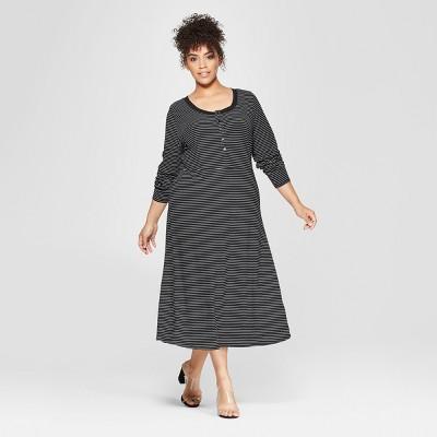 Women's Plus Size Button-Down Rib Midi Dress - Who What Wear™