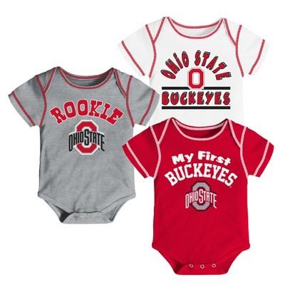 Ohio State Buckeyes Baby Boys' 3pk Bodysuit