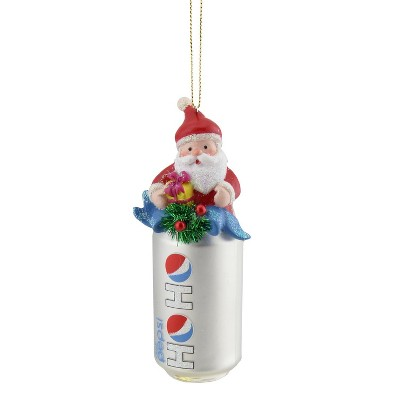 """Northlight 4.75"""" Diet Pepsi Can with Santa Topper """"Ho Ho"""" Glass Christmas Ornament - Silver"""