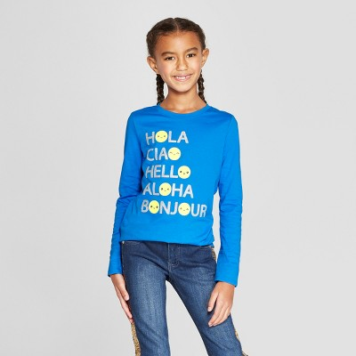 Girls' Long Sleeve Hello Emojis Graphic T-Shirt - Cat & Jack™ Blue