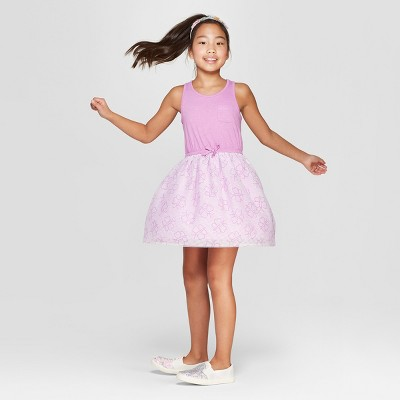 Girls' Butterfly Print A Line Dress - Cat & Jack™ Violet