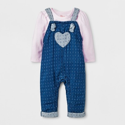 Baby Girls' Long Sleeve T-Shirt and Denim Overall Set - Cat & Jack™ Pink