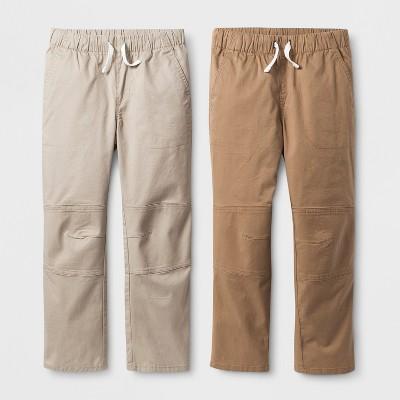 Boys' 2pk Pull-On Pants - Cat & Jack™ Beige/Brown