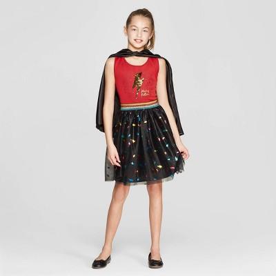 Girls' Harry Potter Bolt Flip Sequin Tank Dress - Burgundy/Black