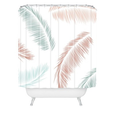 kelly haines tropical palm leaves shower curtain white deny designs