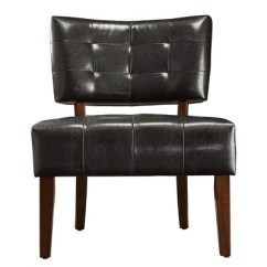 Leather Accent Chairs Paper Chair Covers Elizabeth Armless Faux Dark Brown Inspire Q Target