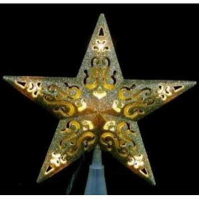 """PENN 8.5"""" LED Lighted Gold Cutout 5-Point Star Christmas Tree Topper - Clear Lights"""