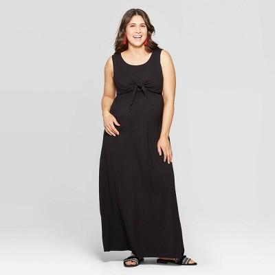 Maternity Sleeveless Round Neck Tie Front Nursing Maxi Dress - Isabel Maternity by Ingrid & Isabel™ Black
