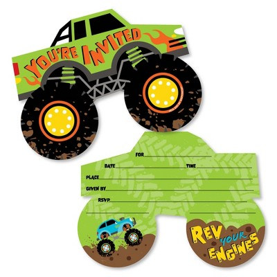 big dot of happiness smash and crash monster truck shaped fill in invitations boy birthday party invitation cards with envelopes set of 12