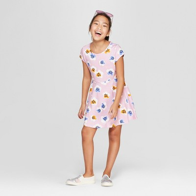 Girls' Short Sleeve Floral A Line Dress - Cat & Jack™ Purple