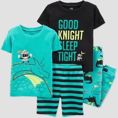 Toddler Boys' 4pc Aqua Dragon Pajama Set - Just One You® made by carter's Green/Black