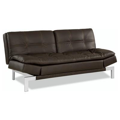 serta bonded leather convertible sofa sagging seat venetia in java with tan baseball stitching target