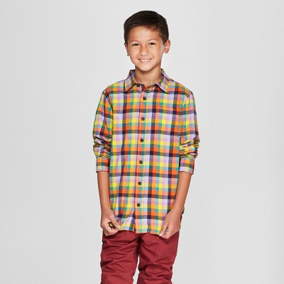 Boys' Long Sleeve Button-Down Shirt - Cat & Jack™ Yellow