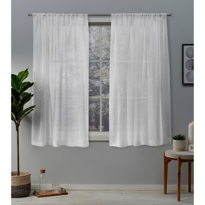 Belgian Texted Linen Rod Pocket Sheer Window Curtain Panels Pair - Exclusive Home