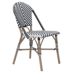 Bistro Chairs Outdoor Office Chair Club Stackable 2pk Weather Resistant Black White Zm Home